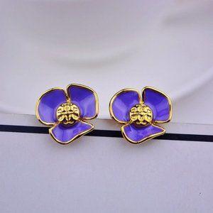 Tory Burch Enamel Purple Flower Logo Earrings